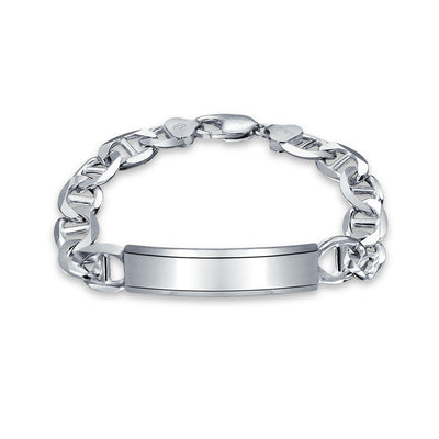 Mariner Anchor Link ID Bracelet Engravable 250 Gauge Sterling Silver
