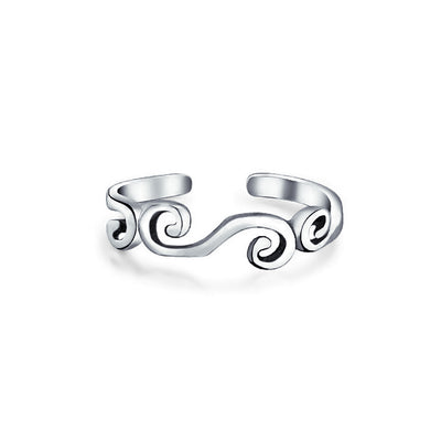 Bali Style Swirl Midi Band Toe Ring 925 Silver Sterling Adjustable