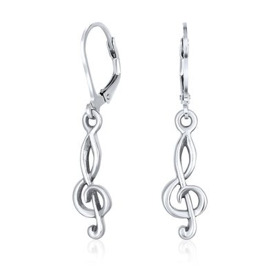 Music Teacher Student Treble Clef Musical Note Drop Earrings Sterling