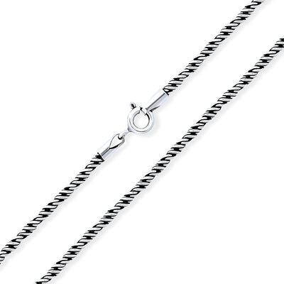 Bali Style Rope Twist Black Oxidized Chain Necklace Sterling Silver