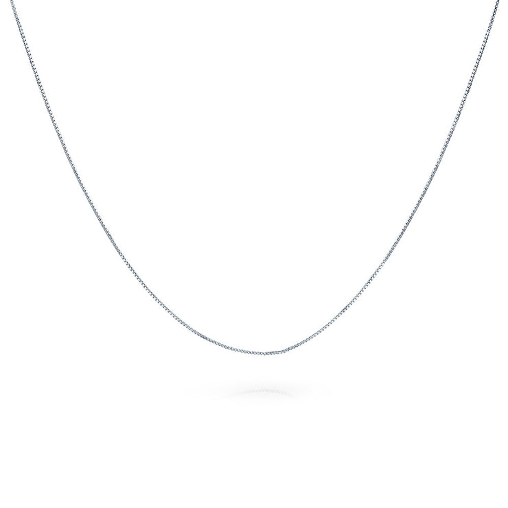 Very Box Chain 1MM 010 Gauge Necklace Sterling Silver Made In Italy