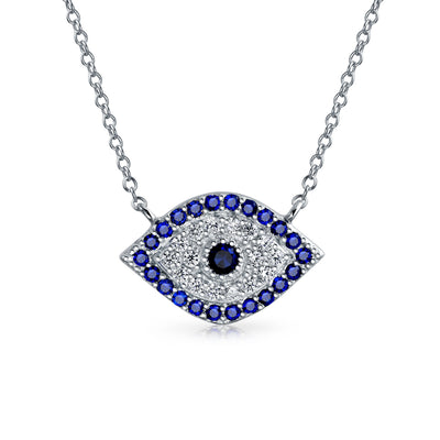 Evil Eye Necklace Pendant Blue Cubic Zirconia Eye CZ Sterling Silver
