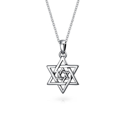 Two Star OF David Magen Jewish Pendant Necklace High Sterling Silver
