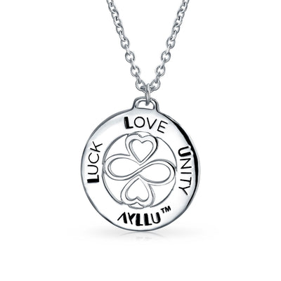 AYLLU Heart Infinity Clover Love Luck Unity Disc Round Pendant Silver