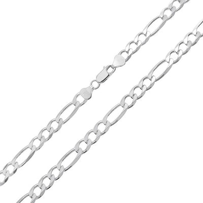 Figaro Link Chain 200 Gauge Solid Thick Necklace Sterling Silver