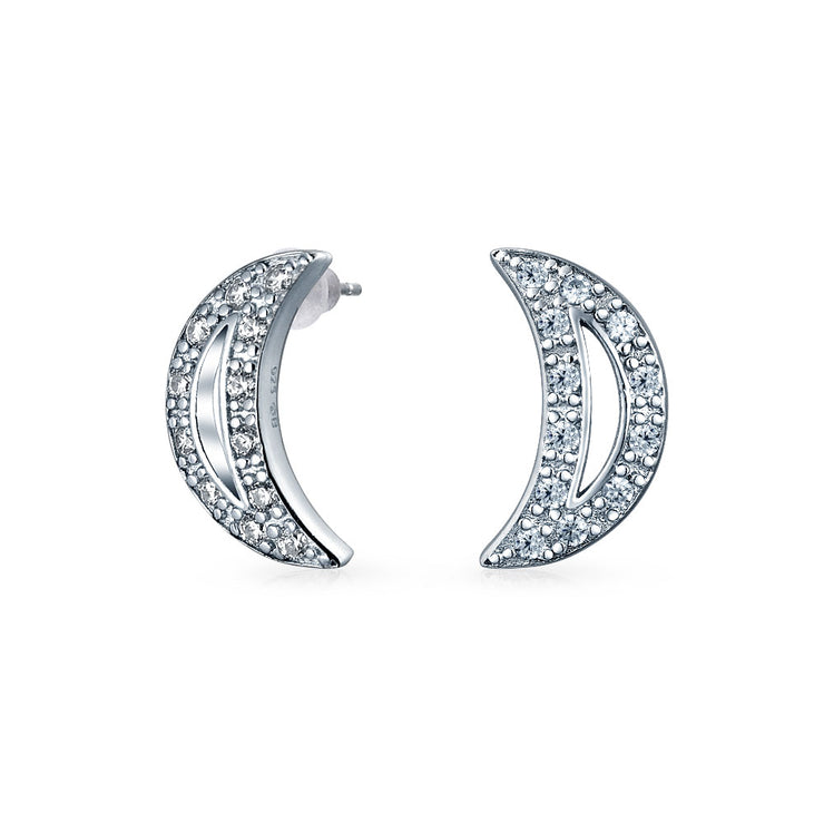 Celestial Crescent Moon Pendant CZ Necklace Earring Sterling Silver