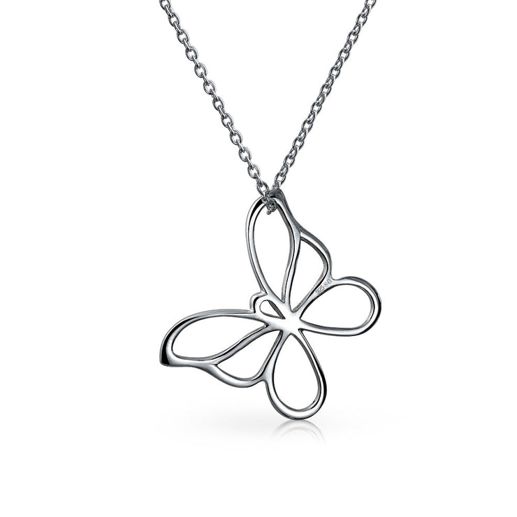 Open Butterfly Necklace Cut Out Dangling Pendant 925 Sterling Silver