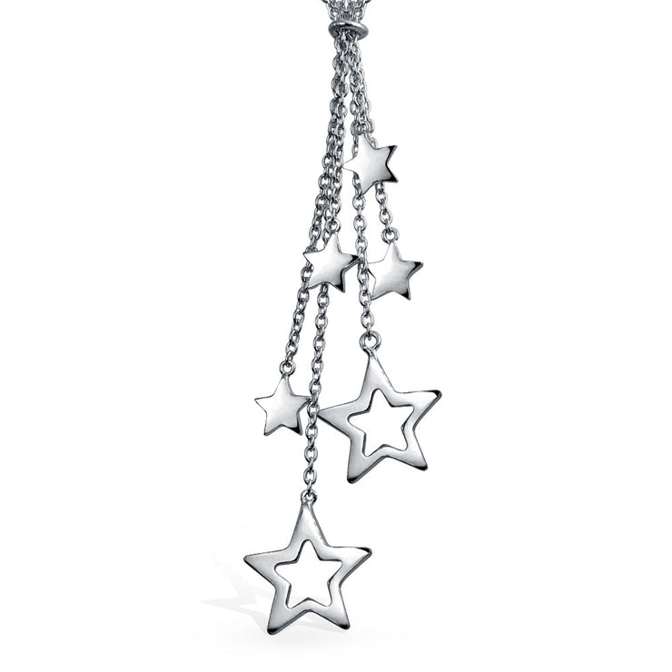Patriotic Stars American Rock Star Lariat Y Necklace Sterling Silver