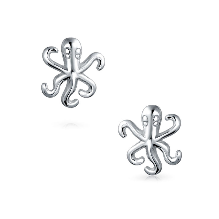 Nautical Sea Creature Octopus Squid Stud Earrings 925 Sterling Silver