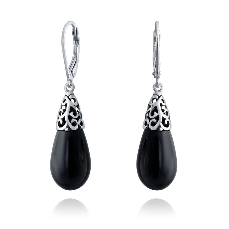 Gemstone Black Onyx Teardrop Filigree Dangle Earrings Sterling Silver