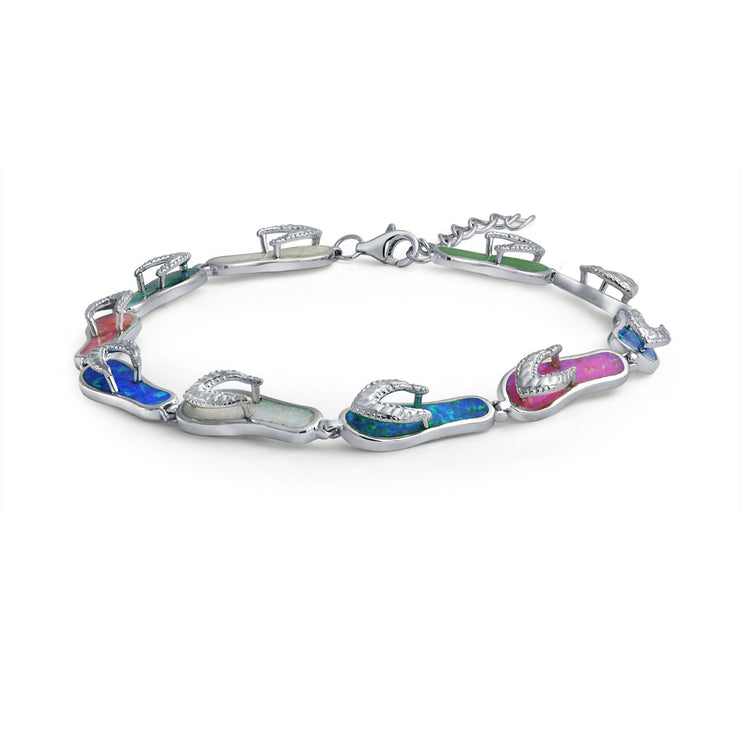 Tropical Vacation Flip Flop al Created Opal Bracelet Sterling Silver