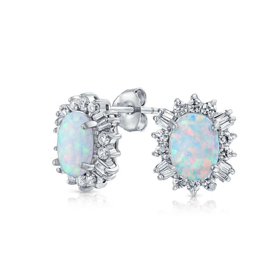 Oval White Created Opal Crown Halo CZ Stud Earrings Sterling Silver