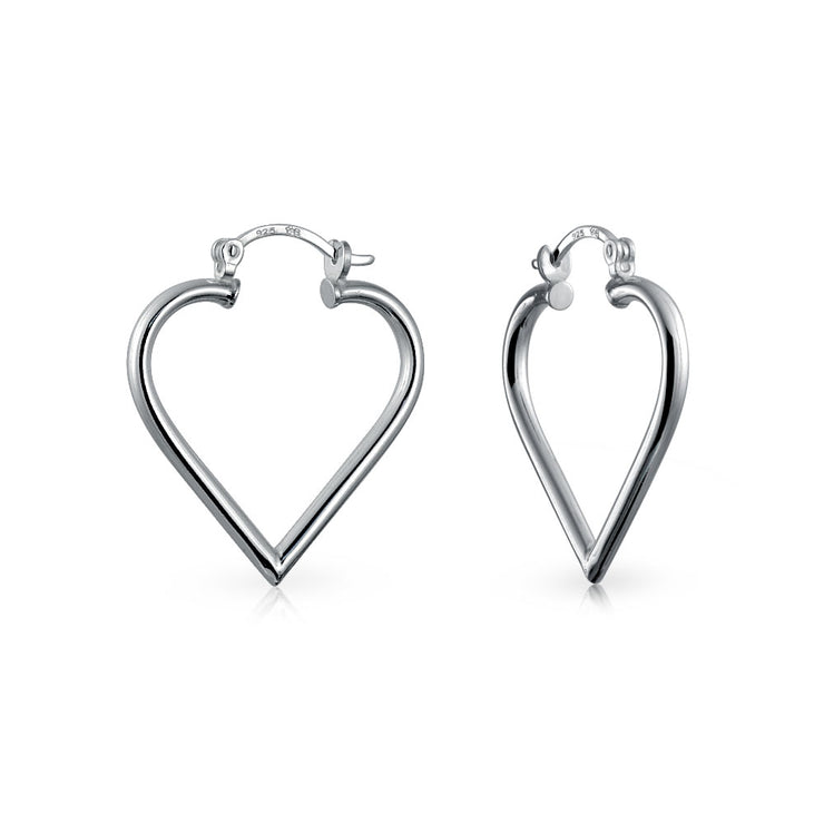 Large Heart Tube Big Hoop Earrings Sterling Silver Hinged Notched Post