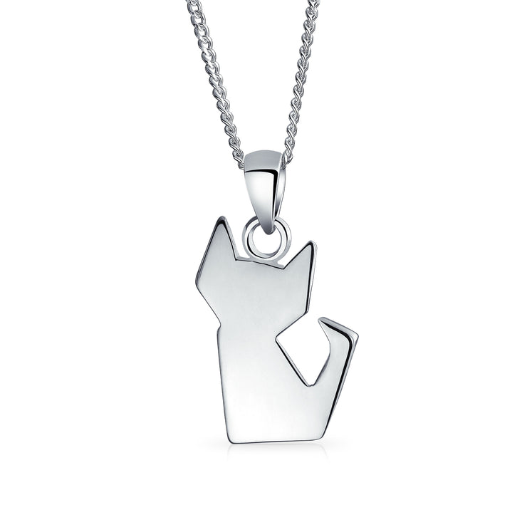 3D Origami Cat Kitten Kitty Pet Pendant Necklace 925 Sterling Silver