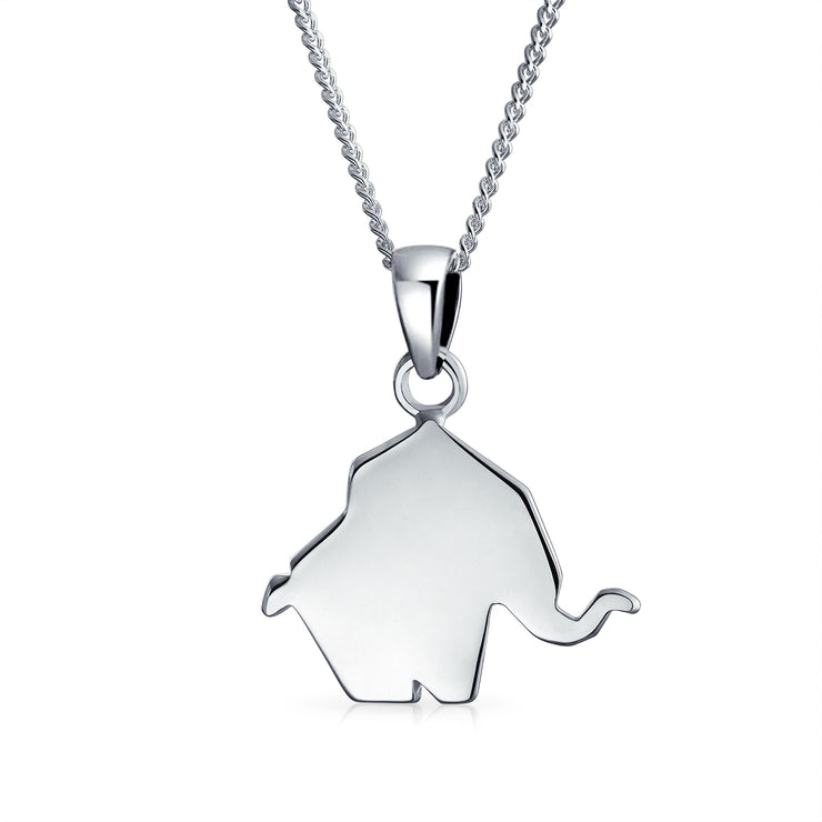 3D Origami Elephant Zoo Animal Pendant Necklace 925 Sterling Silver