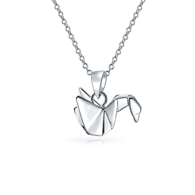 3D Origami Swan Crane Bird Pendant Necklace Women 925 Sterling Silver