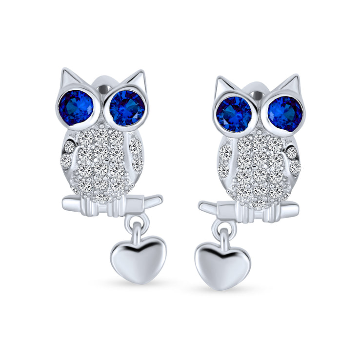 Sitting Owl Stud Earrings Blue Eye CZ Heart Charm 925 Sterling Silver