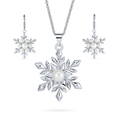 Snowflake Set Imitation Pearl Pendant Leverback Earring Silver Plated