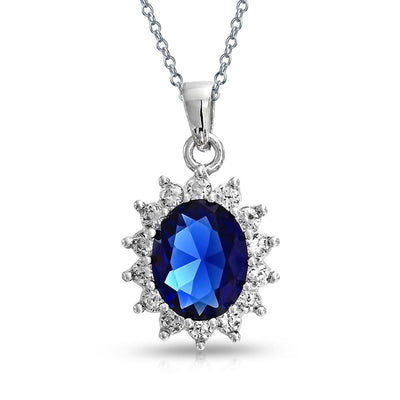 Oval Blue Pendant Simulated Sapphire CZ Halo Crown 925 Sterling Silver