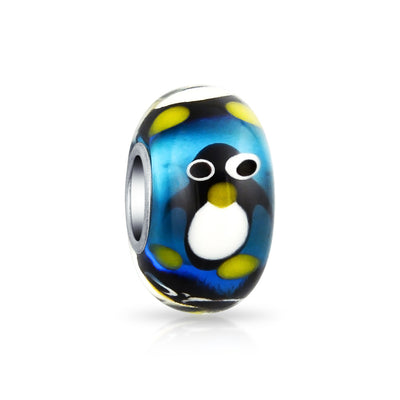 Christmas Blue Penguin Murano Glass Bead Charm 925 Sterling Silver