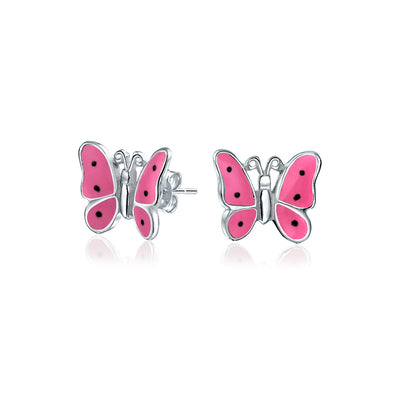 Pink Enamel Garden Butterfly Shaped Stud Earrings 925 Sterling Silver