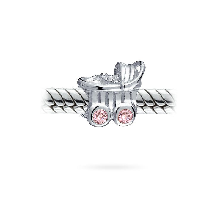 Pink Mother To Be Baby Carriage Stroller Charm Bead Sterling Silver