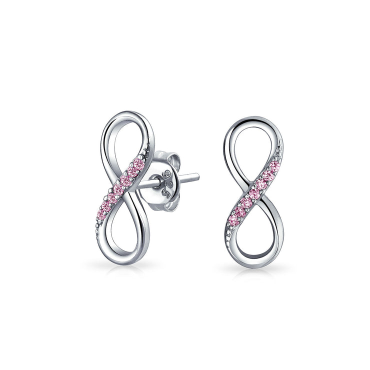 Pink CZ Pave Infinity Symbol Eternity Stud Earrings Sterling Silver