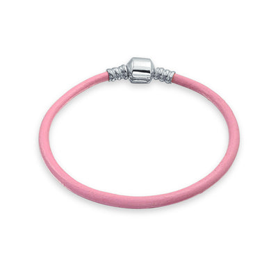 Pink Genuine Leather Starter Charm Beads Bracelet Sterling Silver