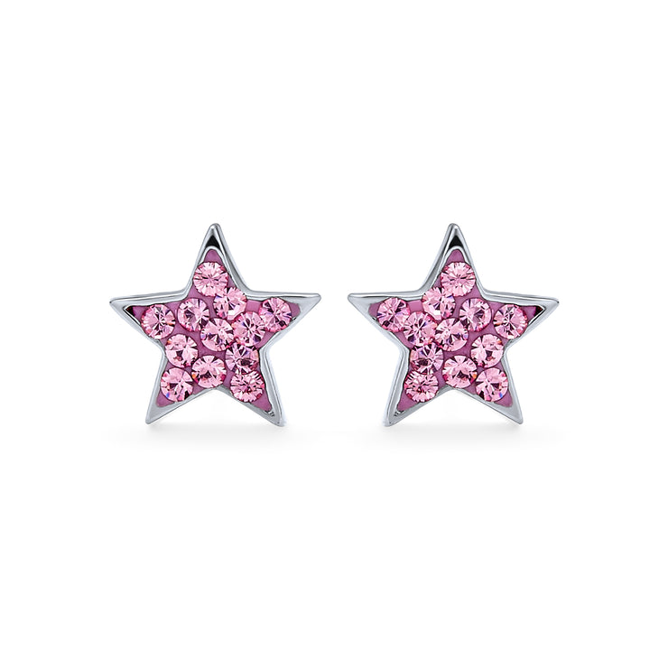 Rock Star Patriotic Celestial Pink Stud Earrings 925 Sterling Silver