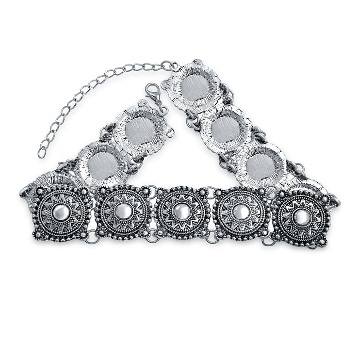 Native American Southwestern Style Concho Choker Silver Tone Necklace