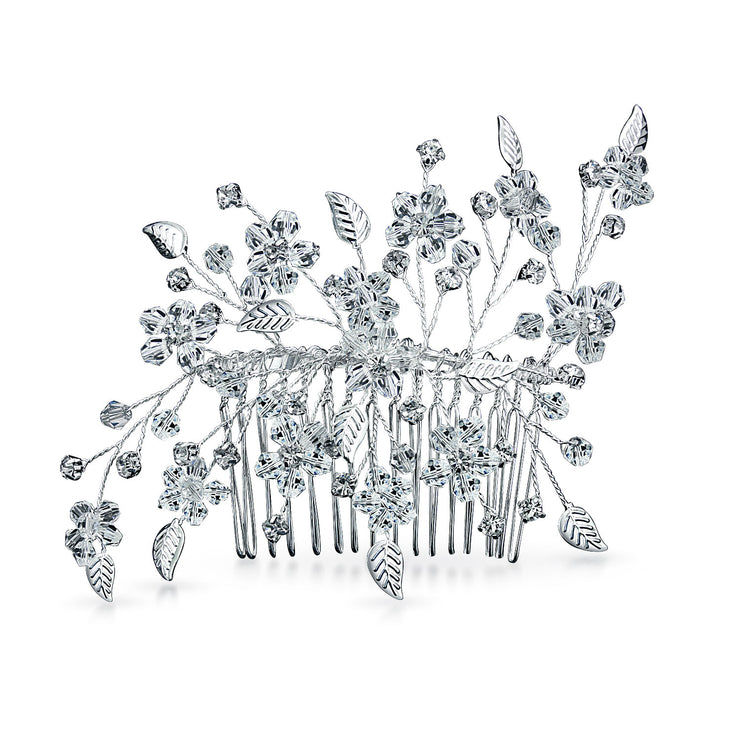 Wire Leaf Wedding Brides Crystal Hair Comb Prom Pageant Birthday