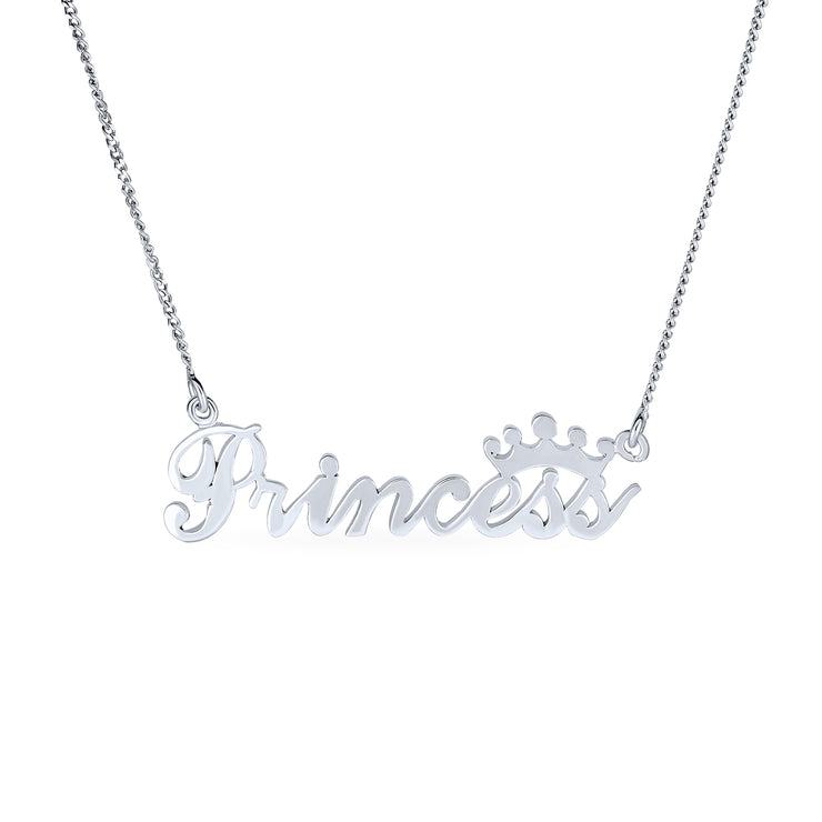 Princess Crown Necklace Name Plated Pendant 925 Sterling Silver