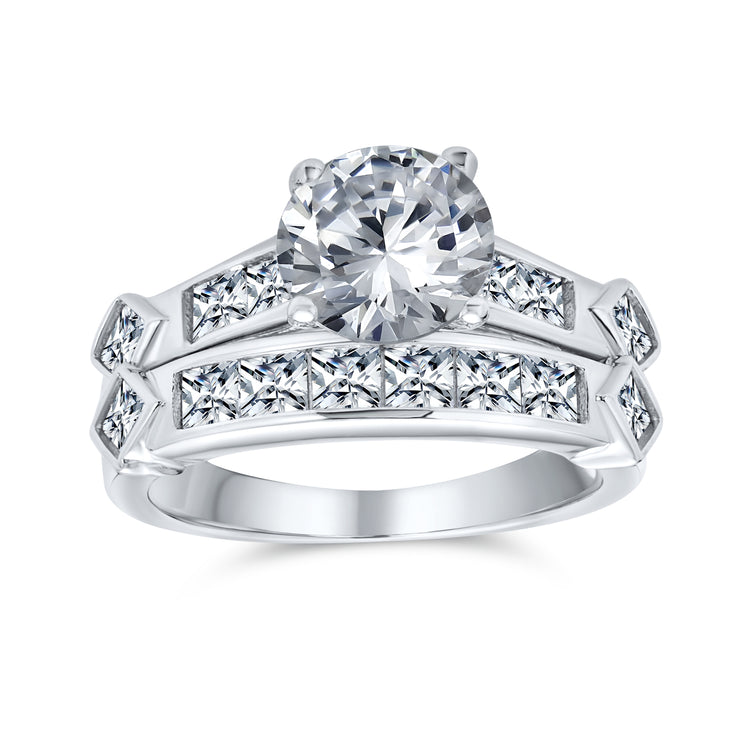 2CT Art Deco Solitaire AAA CZ Round Engagement Wedding Band Ring Set