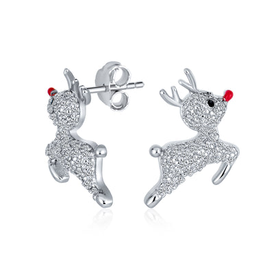 Christmas Rudolph Red Nose Reindeer CZ Stud Earrings Sterling Silver
