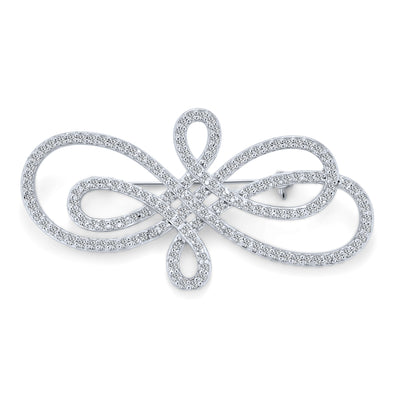 Art Deco Style Infinity Swirl Pave Cubic Zirconia Scarf Brooch Pin