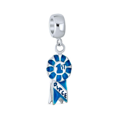 1st Place Blue Winner Circle Dangle Charm Bead 925 Sterling Silver