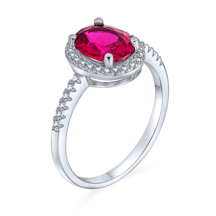 3CT CZ Oval Solitaire Halo Red Pink Engagement Ring Sterling Silver
