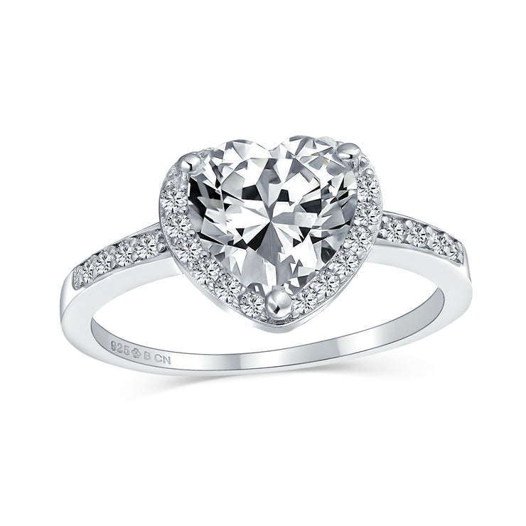 3CT 925 Sterling Silver AAA CZ Halo Pave Band Heart Engagement Ring