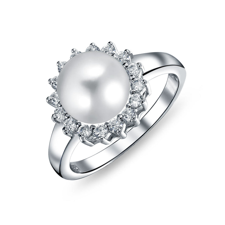 Solitaire Freshwater Cultured Pearl Engagement Ring Sterling Silver