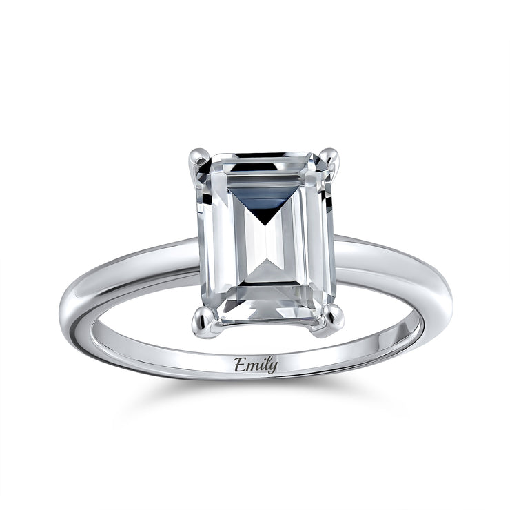 2.5CT Emerald Cut AAA CZ Engagement Ring Thin Band 925 Sterling Silver
