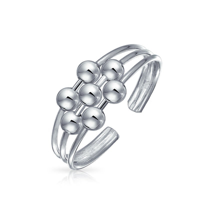 Bali Style Ball Bead Midi Split Wire Band Toe Ring Silver Sterling