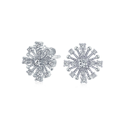 Christmas Winter Snowflake Stud Earrings CZ Cluster Sterling Silver