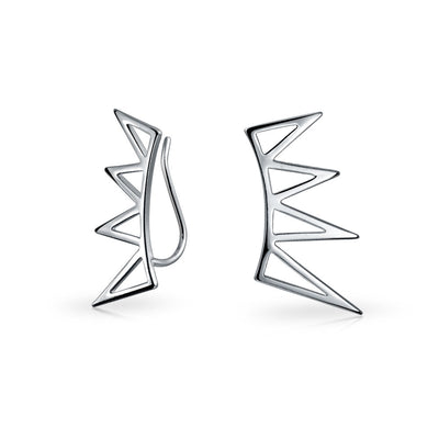 Spike Triangles Ear Pin Climbers Earrings Crawlers Sterling Silver