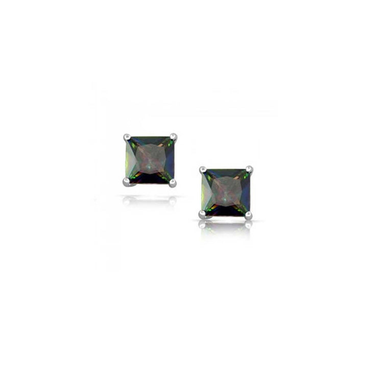 Square Black Mystic Princess Cut CZ Stud Earrings 925 Sterling Silver