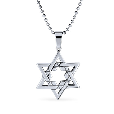 Jewish Star OF David Religious Pendant Stainless Steel Necklace Ball