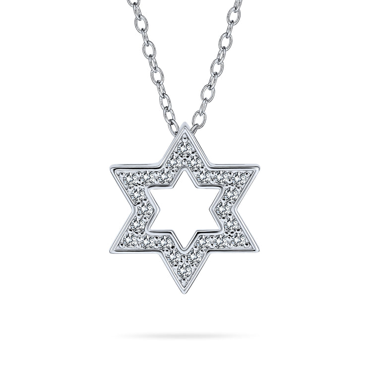 Star OF David Magen Jewish Pendant Pave CZ Necklace Sterling Silver