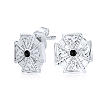 Maltese Cross Black Celtic Knot Cross Stud Earrings Sterling Silver