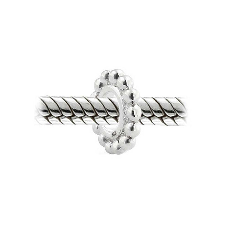 Caviar Cable Very Thin Beaded Spacer Charm Bead .925 Sterling Silver