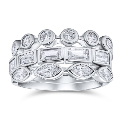 Stackable Baguette Marquise CZ Wedding Band Ring Set Sterling Silver