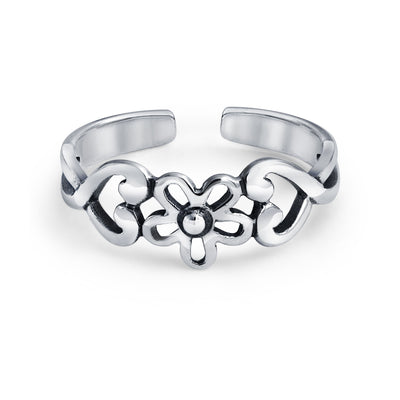 Flowers Heart Carved Filigree Midi B Ring Silver Sterling Mid Finger